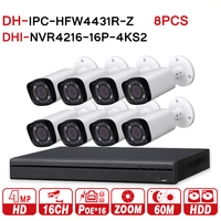 DH 4MP 16+8 Security CCTV Camera Kit original NVR NVR4216 16P 4KS2 16POE 4K & 8pcs OEM IP Camera Zoom IPC HFW4431R Z CCTV System