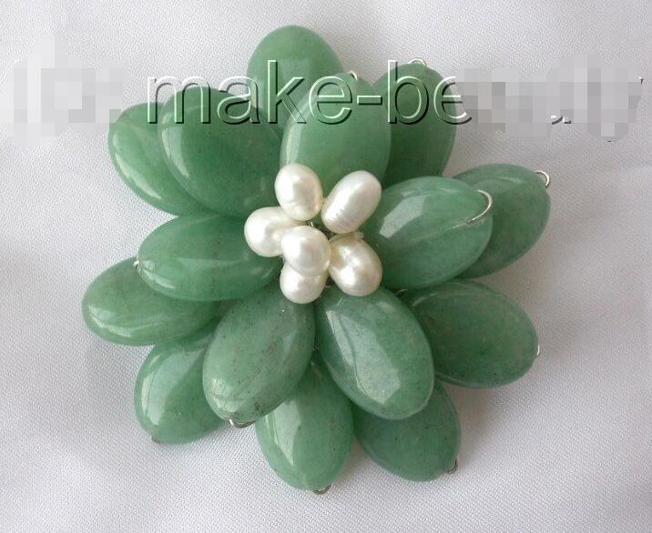 Wholesale price ^^^stunning big handmade baroque green stone white pearl flower brooch pin цена