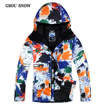 GSOU SNOW New Men's and Women's Clothing Single and Double Board  Male Money Printed Waterproof Outdoor Windproof ski suit