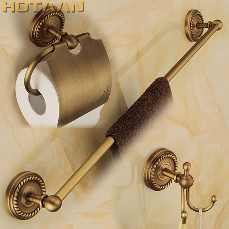 Free shipping,solid brass Bathroom Accessories Set,Robe hook,Paper Holder,Towel Bar,bathroom sets,antique brass finish YT-12200 leyden towel bar towel ring robe hook toilet paper holder wall mounted bath hardware sets stainless steel bathroom accessories