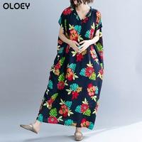 Plus Size Floral Printed Dress Beach Cotton Dress Big Size Lady Loose Women Elegant Retro Dresses 2019 Summer Female 4XL 5XL 6X
