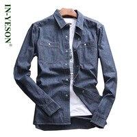אופנה חדשה מותג שרוול ארוך חולצת גברים חולצת ג 'ינס מזדמן רטרו גברים כותנה רך בסגנון איטליה בתוספת 5XL גודל גדול ג' ינס camisa