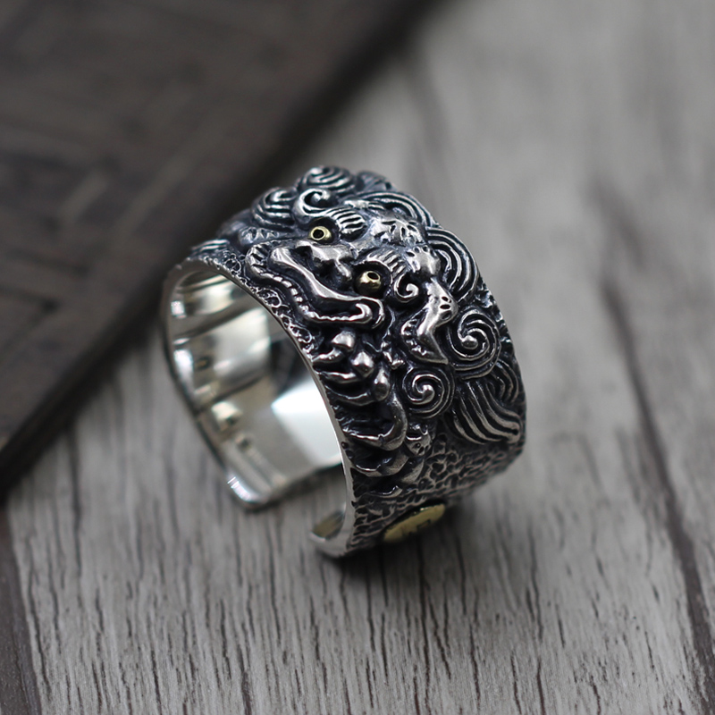 S925 Vintage Sterling Silver Jewelry Ring Silver Tonlion brave men a domineering personality wide pull ring