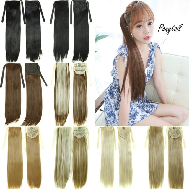 24 Long Straight Ponytails Extensions False Blond Pony Horse Hair