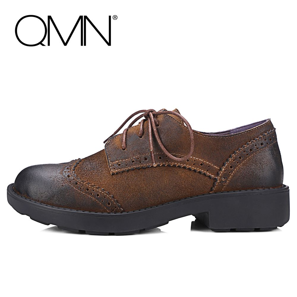 QMN women genuine leather flats Women Waxed Natural Cow Suede Brogue Shoes Woman Lace Up Leisure Shoes Woman Leather Oxfords qmn women genuine leather flats women square toe brogue shoes woman typical british style real leather oxfords 34 40