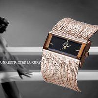 Luxury Fashion Women Wide Multi Layers Chain Band Bracelet Watch Party Casual Quartz Dial Elegant Wristwatch