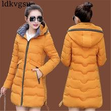 купить 2019 Autumn Winter Clothing Plus Size 5XL 7XL Women's Down Cotton Jacket Long Section Korean Parkas Hooded Coats 6XL A1271 дешево
