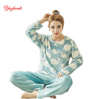 Yuzhenli Pyjamas Women Flannel Adults Winter Warm Pajama Sets Long Sleeved Velvet Cartoon Sleepwear Femme Pijamas