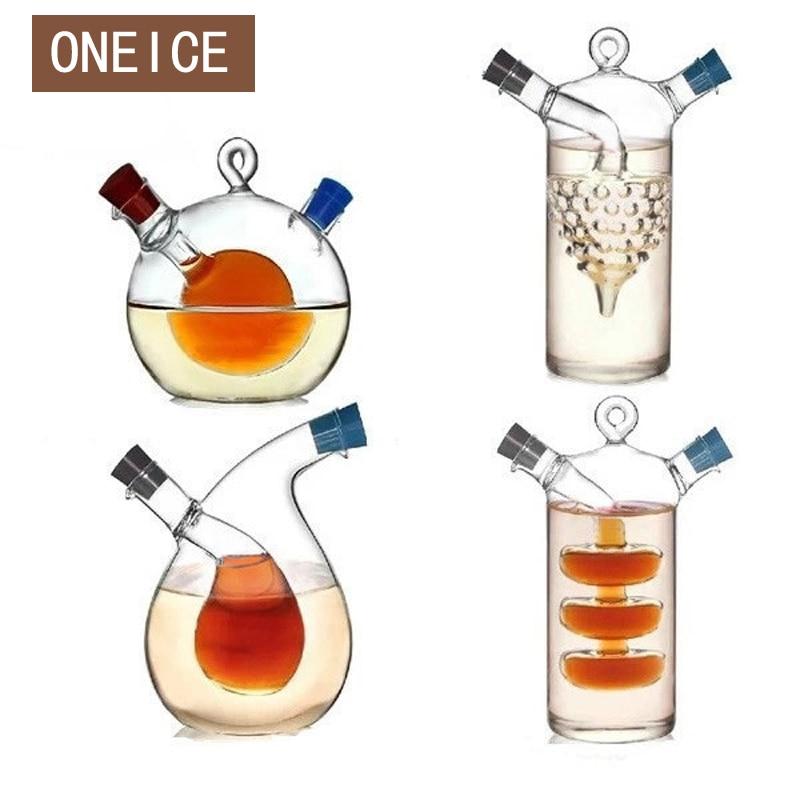Multipurpose Large Kitchen Seasoning Bottle Green Glass Oiler oil can leak vinegar sauce bottle Two Mouthes kitchen accessories