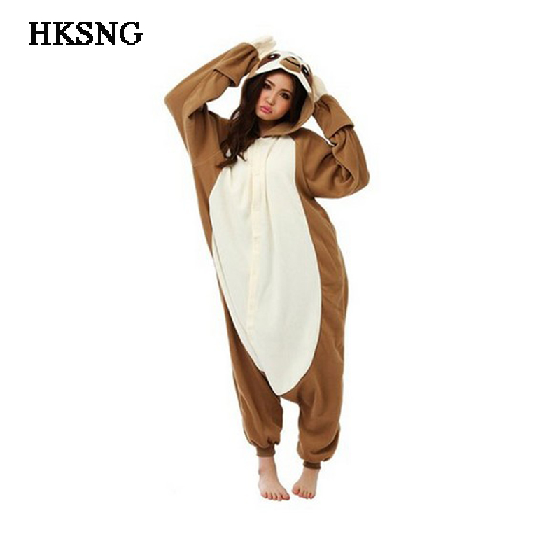 HKSNG New Adult Unisex Winter Animal Sloth Pajamas Kigurumi Onesies Zootopia Folivora Cosplay Costumes Homewear Pyjamas