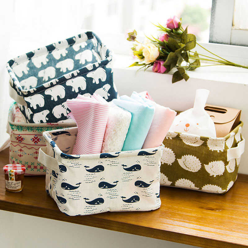 Cotton Linen Storage Basket Toys Box Container Organizer Sundries Storage Box Underwear Cosmetic Storage Closet Organizer Boxes