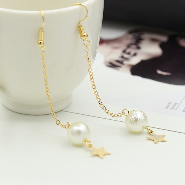 10 Pairs Lot Star Drop Earrings Gold Color Tel Long Earring Clip Simulated Pearl