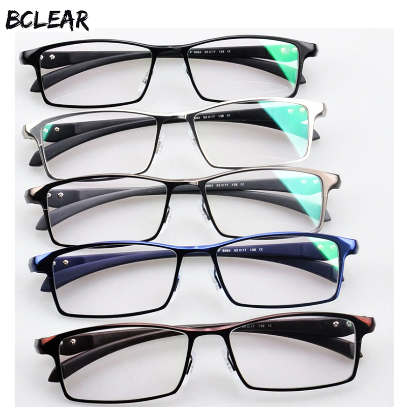 BCLEAR Men Titanium Alloy Eyeglasses Frame Eyewear Flexible Temples Legs IP Electroplating Alloy Material,Full Rim and Half Rim