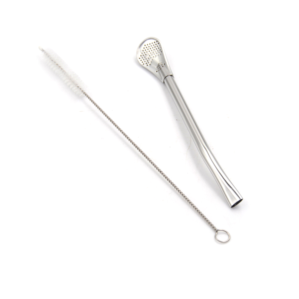 Kitchen Tools 2Pcs Drinking Straw with Ring Stainless Steel Silver Yerba Mate