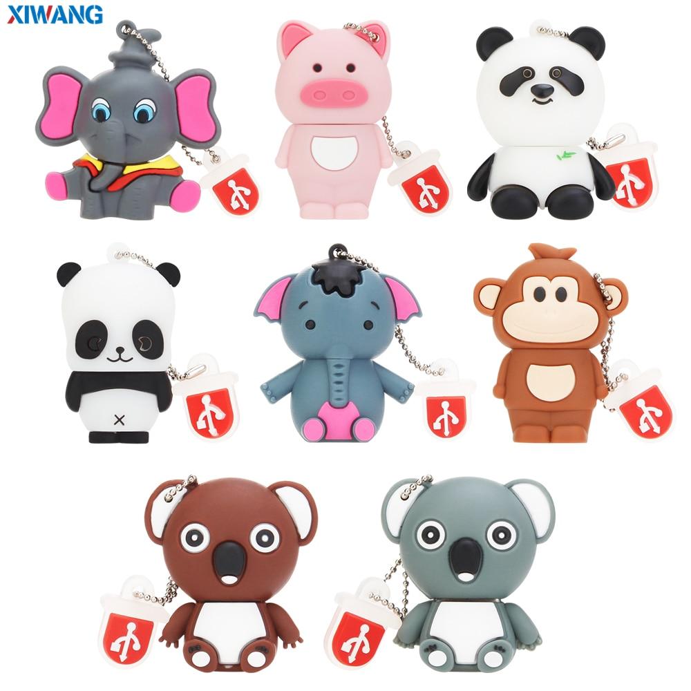 Usb Flash Drive 32GB 64GB Cartoon Koala Pendrive 128GB 16GB 8GB 4GB USB 2.0 Mini Elephant Panda Pet Pig Pen Drive USB Stick Disk