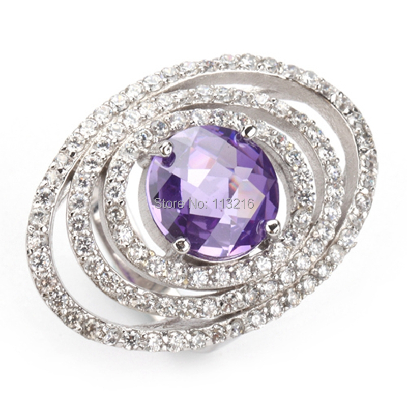Promotion Amethyst Cubic Zirconia and White Cubic Zirconia Wholesale Jewelry Rock Silver Plated Bohemia RING R3265 sz# 6 7 8 9