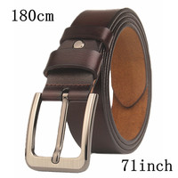 Belt 71inch large size 180cm men's needle button 3.7cm wide belt men's genuine leather pure cow longer belt pin buckles 2018