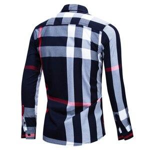 Image 4 - Camisa nueva informal de negocios de manga larga para hombre, camisa masculina de manga larga, de algodón a cuadros, 100%, de talla grande