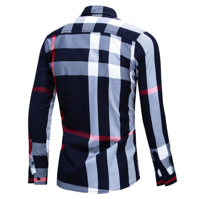 Image 4 - NEW shirt Business casual autumn long sleeve men shirts High quality brand 100% cotton plaid shirt men Plus Size chemise hommeCasual Shirts   -