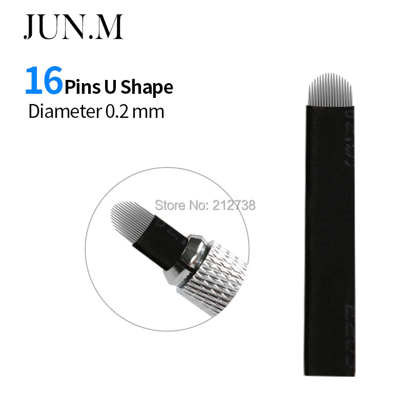 Systematic 100pcs Dia 0.2mm 16-pin U Shape Tattoo Eyebrow Needle Manual Needle Blade 3d Embroidery Black Microblading Blades Modern Techniques Tattoo & Body Art