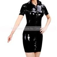 Женские резиновые латекс платье с передней кнопки Для женщин модные однотонные черные латексная Клубная одежда S LD196
