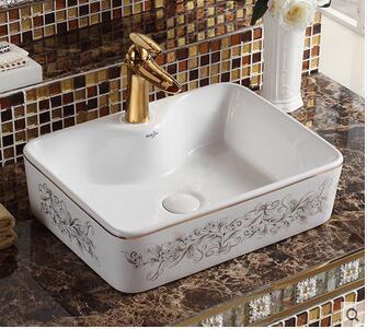 Sanitary ceramics stage basin sink square basin bathroom sinks Mosaic gold art basin