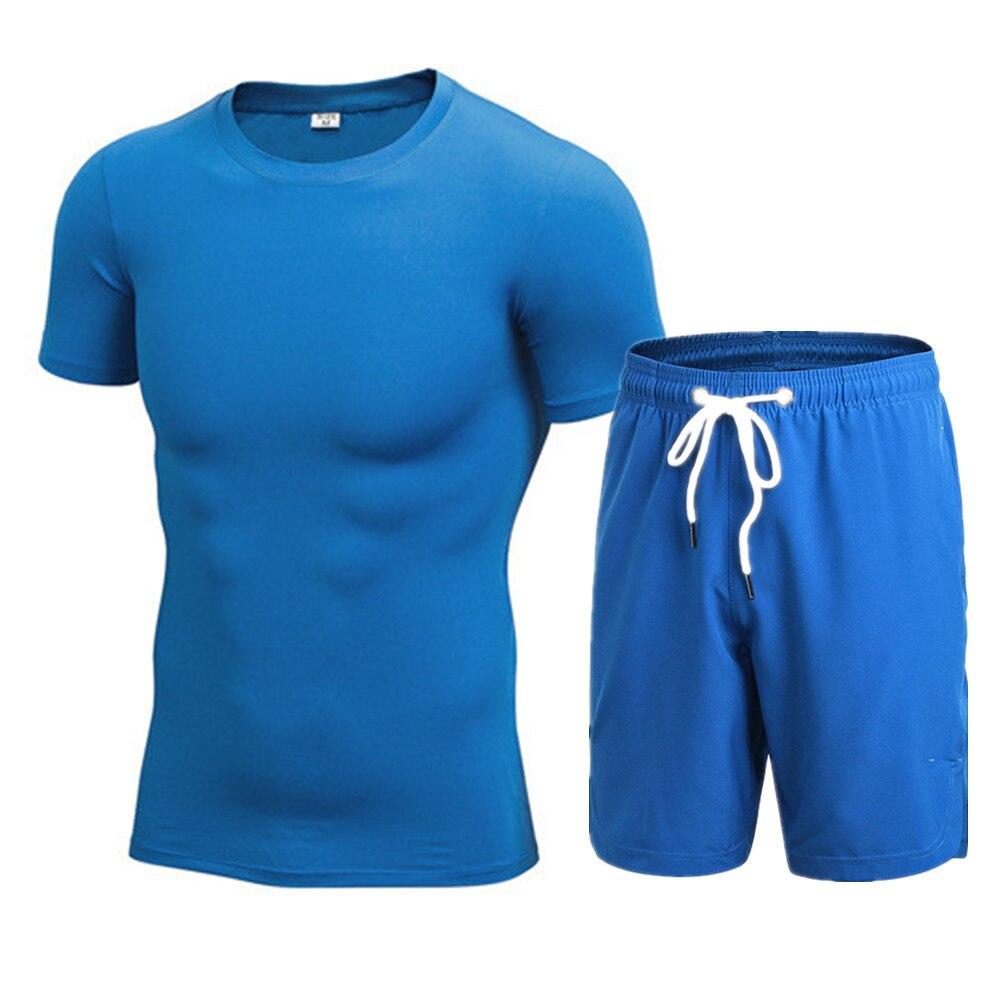 Nouveau hommes sports couche de base top compression skin fit chemise pantalon set gym wear