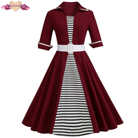 New 6xl Large Size Striped Patchwork Casual Dress Women Spring Swing Tunic Dress Retro Fashion Hit