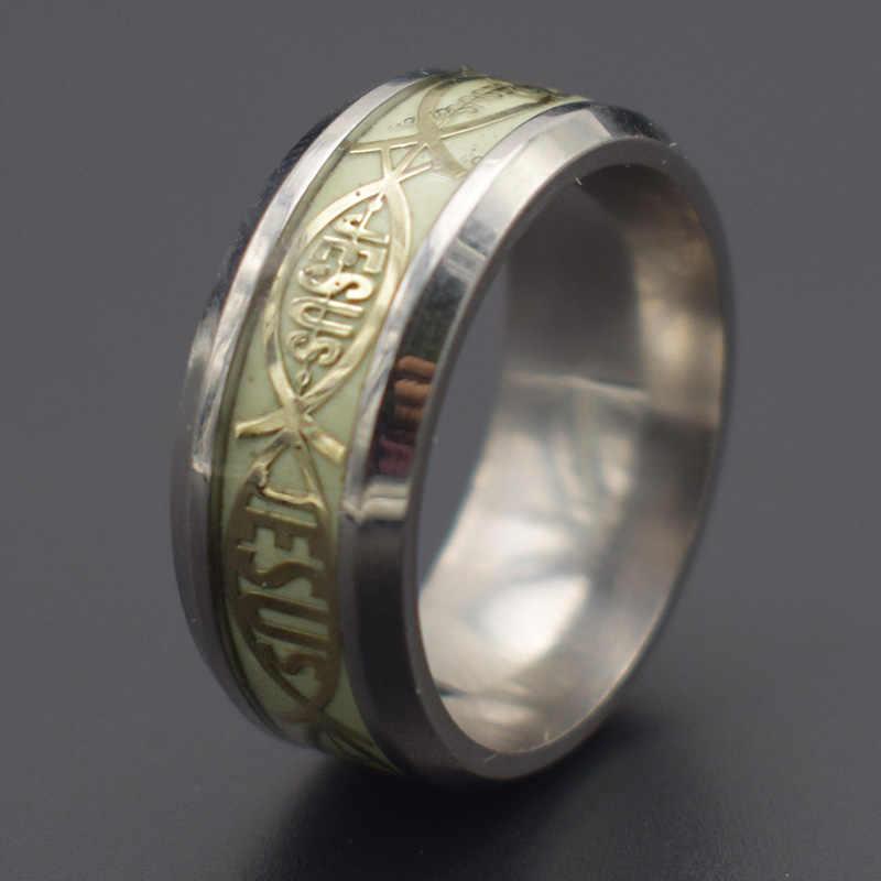 สแตนเลส Music Stave Luminous แหวนผู้ชายเครื่องประดับเรืองแสงเรืองแสง Inlay พระเยซู Letter แหวนสำหรับเครื่องประดับสตรี