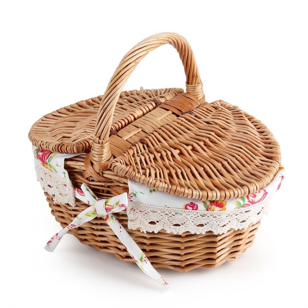 Cesta de piquenique cesta de armazenamento de barriga cesta de palha artesanal saco de armazenamento de vime de madeira cor cesta de armazenamento com tampa