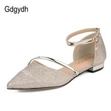 Gdgydh 2018 Neue Mode Frühjahr Frauen Sandalen Marke Designer Metall Dekoration Gold Silber Party Schuhe Sommer Elegante Niedrige Ferse