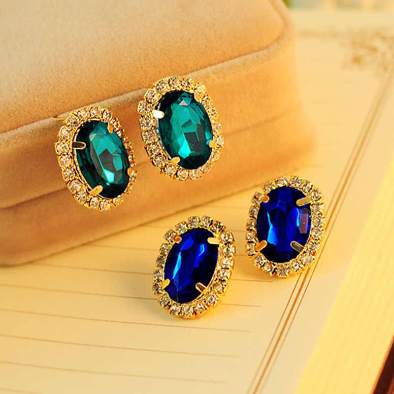 Crystal Flower Earrings For Women Gold Color Blue Green Rhinestone Stone Stud Earring Zircon Jewelry Accessories Pendientes