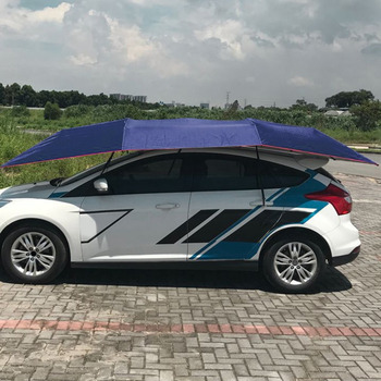 Half Automatic Awning Tent Car Cover Outdoor Waterproof Folded Portable Car Canopy Cover Anti-UV Sun Shelter Car Roof Tent New