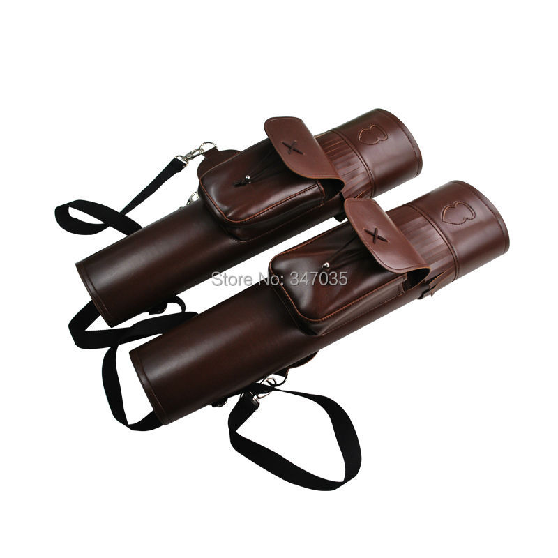 1 pcs/lot PU Leather Brown Arrow Quiver Back / Side Holder Bag with Braces for Bow Archery Hunting Outdoor dmar archery quiver recurve bow bag arrow holder black high class portable hunting achery accessories
