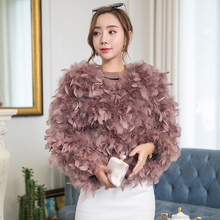 4296bc3c3f9 New 2018 Autumn Winter Women Short Real Ostrich Feather Fur Coat O-Neck  Natural Ostrich