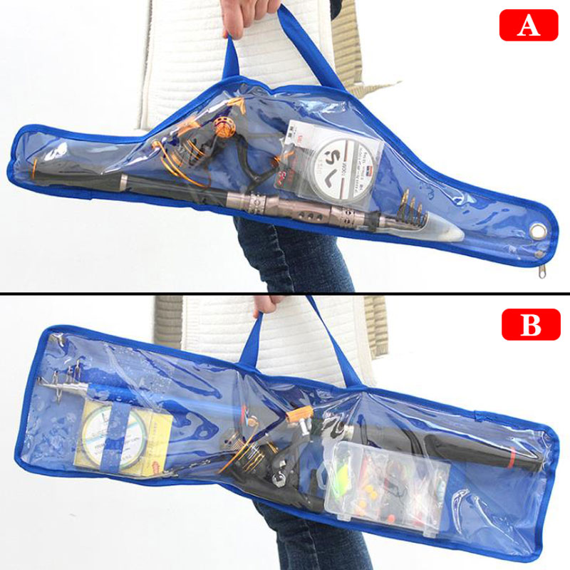 1pcs Transparent Fishing Tackle bag For Fish Rod Reel Lure Line 68 71cm Portable Folding Fishing Rod Reel Bag in Fishing Bags from Sports Entertainment