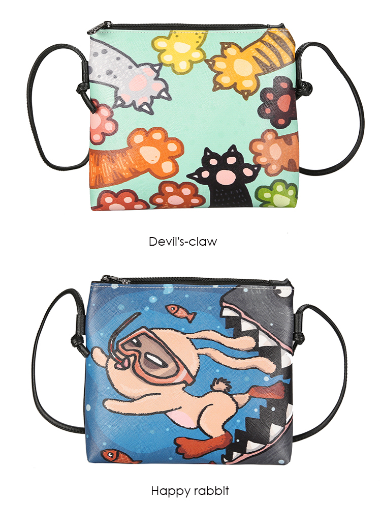 Menghuo 2017 Women Envelope Shoulder Clutch Bag Quality PU Cartoon Cat Printing Small Female Message Purse for Teenagers Girls (28)