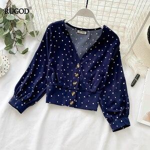 Image 3 - RUGOD blusa ceñida informal con manga larga para Primavera, camisa con estampado de lunares para mujer, cuello de pico, manga larga