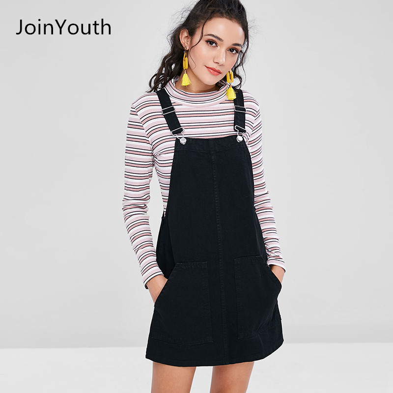 360e2ba294 JoinYouth Women Fashion Black White Striped Pocket Denim Adjustable  Suspender Dress Belt Autumn Female Braces Romper Dress-in Dresses from Women s  Clothing ...