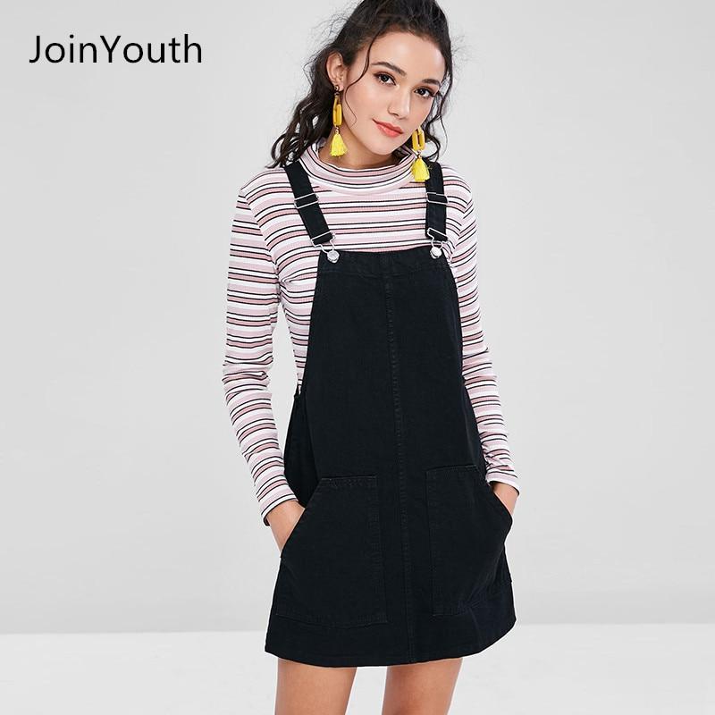 JoinYouth Women Fashion Black White Striped Pocket Denim Adjustable Suspender Dress Belt Autumn Female Braces Romper Dress