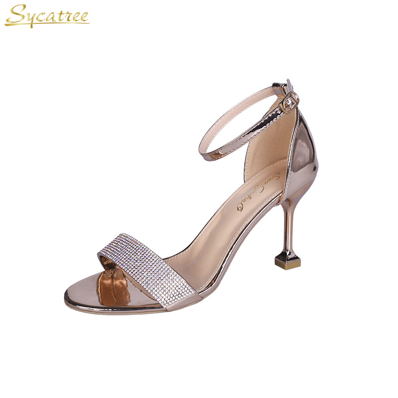 Shoes Glitter Sandals Crystal Women Pumps High-Heels Evening-Party Woman Red Sycatree