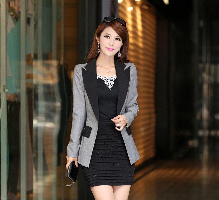 Fashion Women's Autumn Candy blazers Coats female One Button Office Blaser patchwork Color Suit Long jacket Clothing XXXL