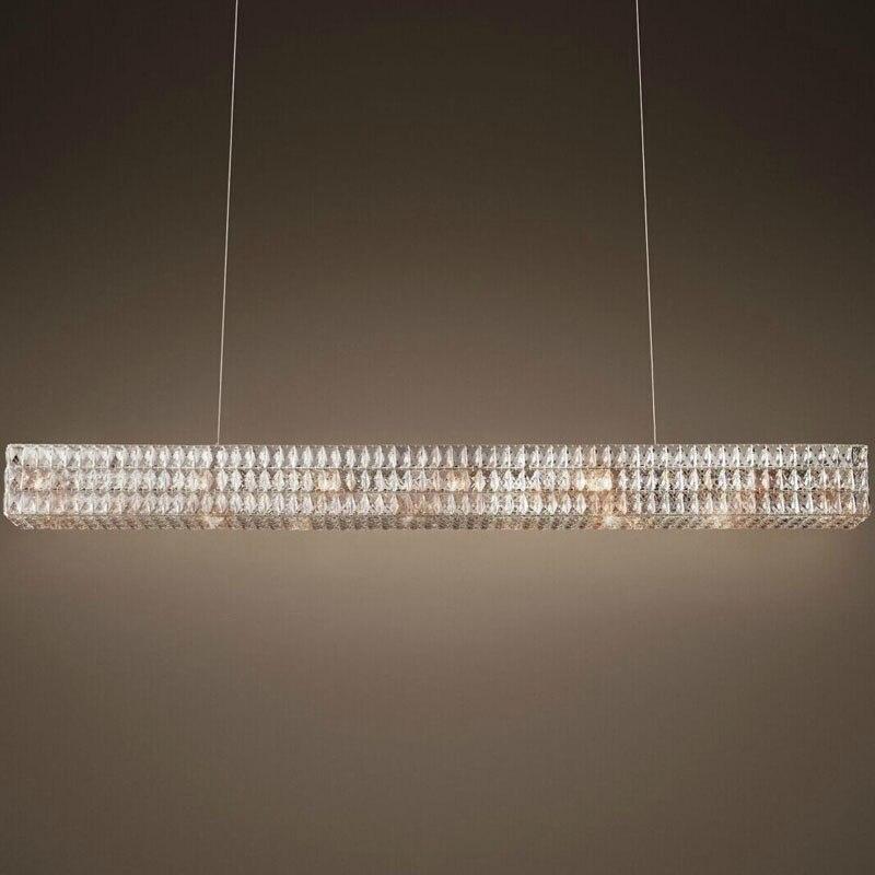 Moderne RH nouveau rectangulaire lustre en cristal Oliver conception originale creative art décoration lumière restaurant de luxe lustre