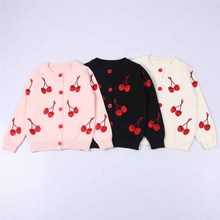 Girls Jumper 2019 New Children Sweater Girls Knit Cardigan Sweater Coat Baby Cotton Cherries Embroidery Warm Sweaters For Girl недорого