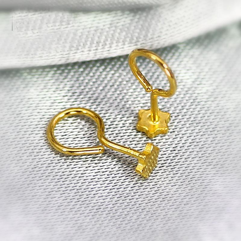 Boucles d'oreilles en or jaune 24 K pur femmes boucles d'oreilles étoile 0.33g - 4