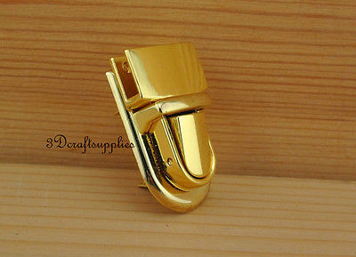 purse lock wallet Thumb latch tongue clasp golden 1 inch x 1 1/2 inch N9