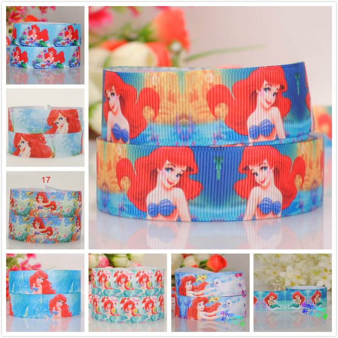 7/8  22 mm red long hair princess ribbon pattern printed grosgrain tape ribbon free shipping