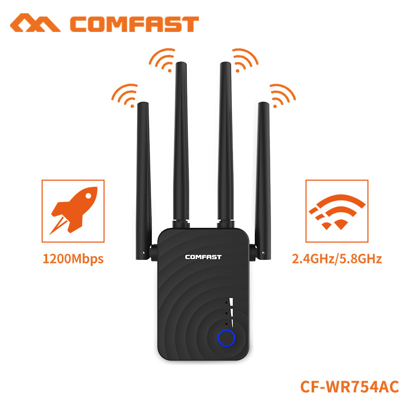 COMFAST High Speed Home Wireless Extender 5ghz Router Wifi Repeater 1200Mbps 4*2dbi omnidirectional Antenna Long RangeCF-WR754AC image