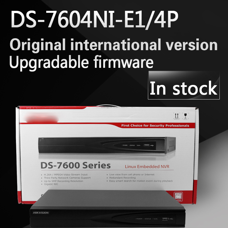 Free shipping In stock English version DS-7604NI-E1/4P 4CH POE NVR 1SATA and 4 POE ports, H.264 Embedded Plug & Play NVR POE цена 2017