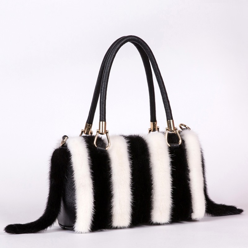 New Arrival Women Real Mink Fur Handbag Luxry Real Fur Flap Ladies Crossbody Bags Female Bags